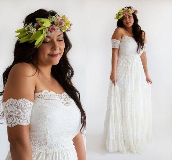 Details About Plus Size Lace Strapless Bridal Gown White Ivory