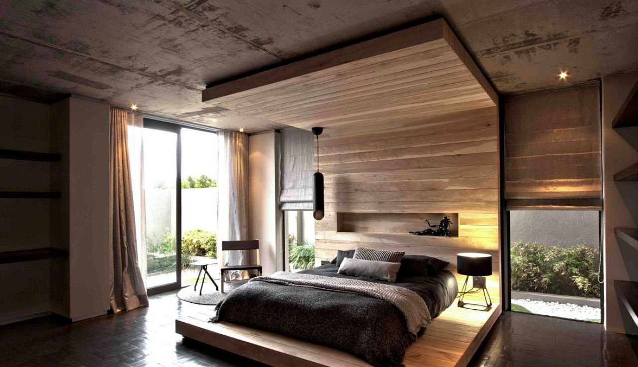 Modern Bedroom Design With Wood Wall Panels Exposed Concrete ...