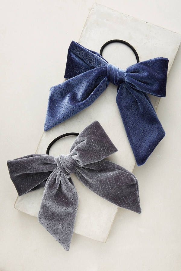 Anthropologie Shimmered Velvet Bow Pony Holder Set