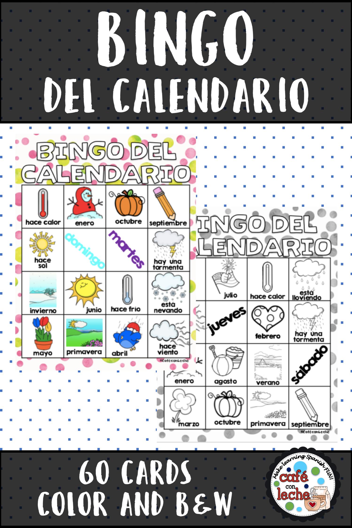 Bingo Del Calendario Spanish Calendar Bingo