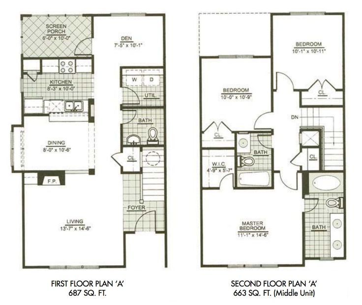 Modern two story house plans two story narrow lot house for Two story house floor plans free