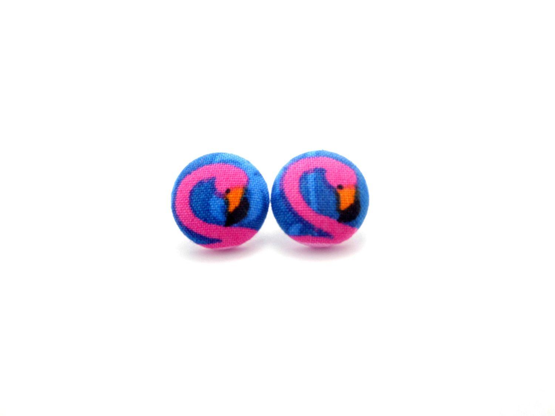 Pink Flamingo Earrings  Flamingo Earrings  Fabric Button Earrings   Hypoallergenic Earrings  Flamingo Stud Earrings  Stud Earrings