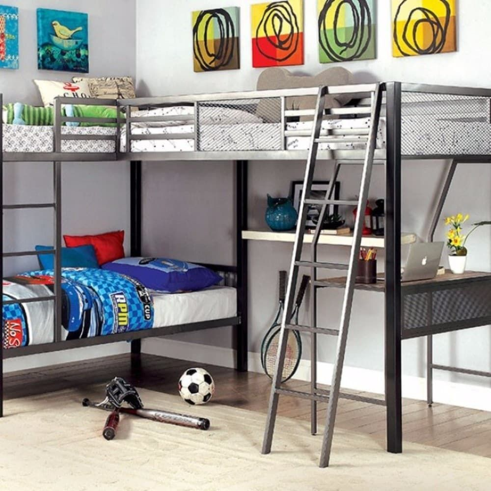 Double loft bed with desk  Benzara LShaped Triple Twin Contemprorary Bunk Bed With Desk Grey