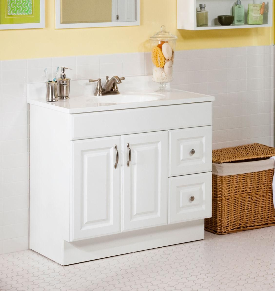 Modest, cute bathroom vanity. No gap between vanity and floor. | Our ...