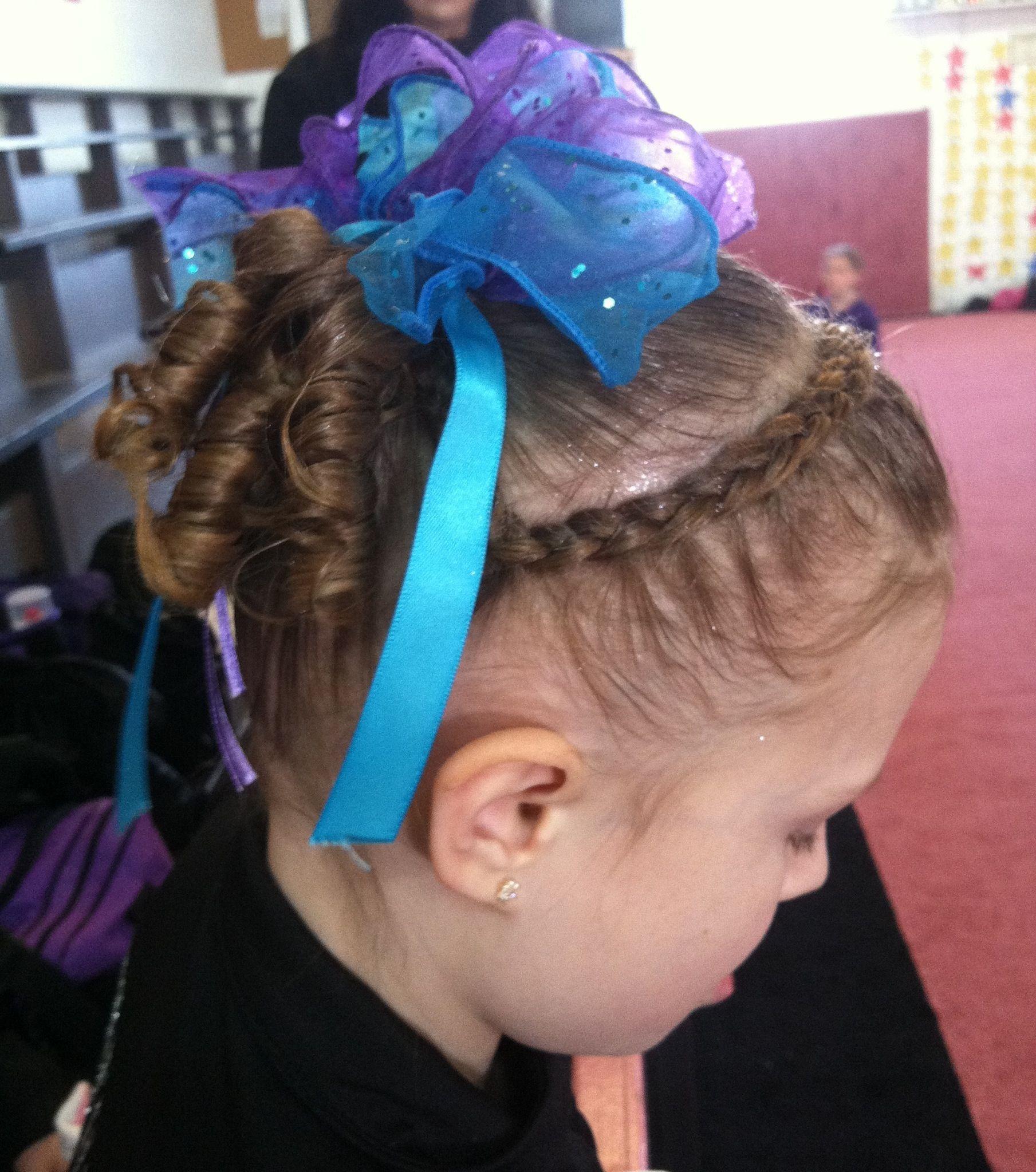 Cute gymnastics hairstyle headband braid into curly pigtails hair