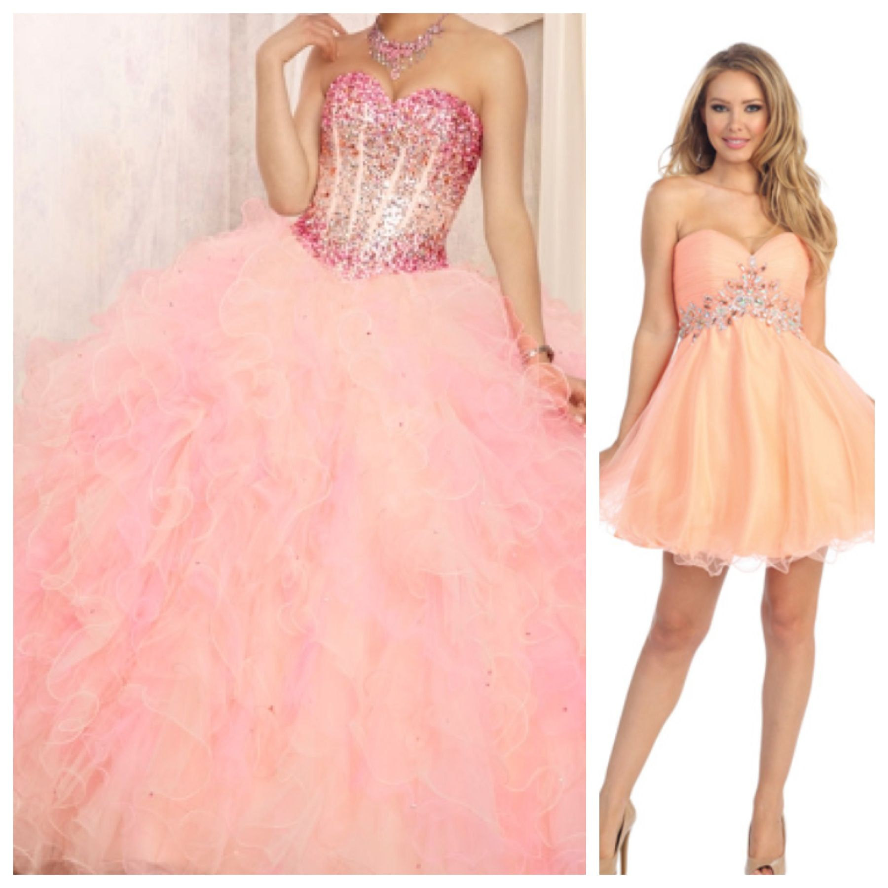 Beautiful Peach and Pink combination Quinceañera dress and short ...
