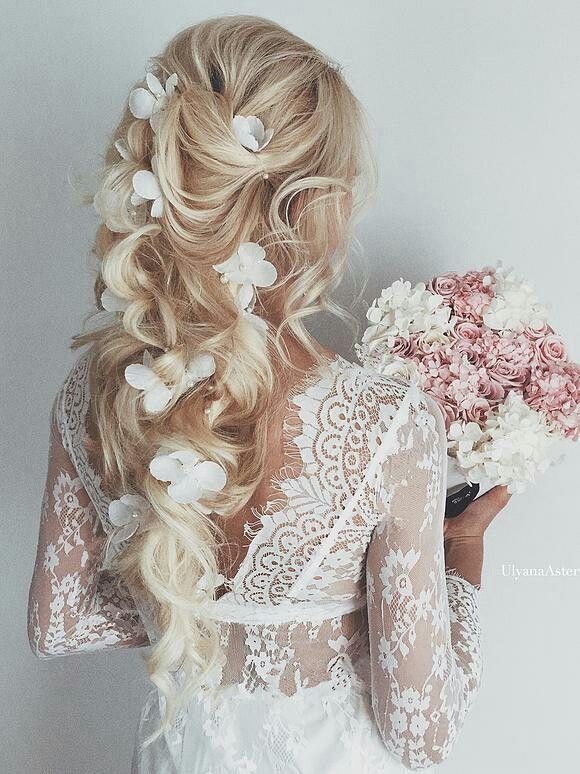 Blonde wedding hairstyle with white flower accessories and soft blonde wedding hairstyle with white flower accessories and soft curls bridal hair bride wedding hair mightylinksfo