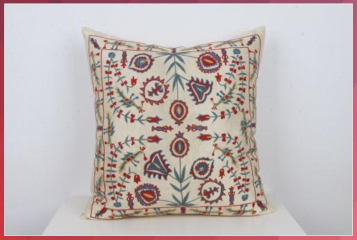 Flowers Pattern Suzani Pillow Bohemian Decor Orange Pink Blue 20 Eclectic Pillow Silk Zippered Cushion Cover Lumbar Decoration PillowCase