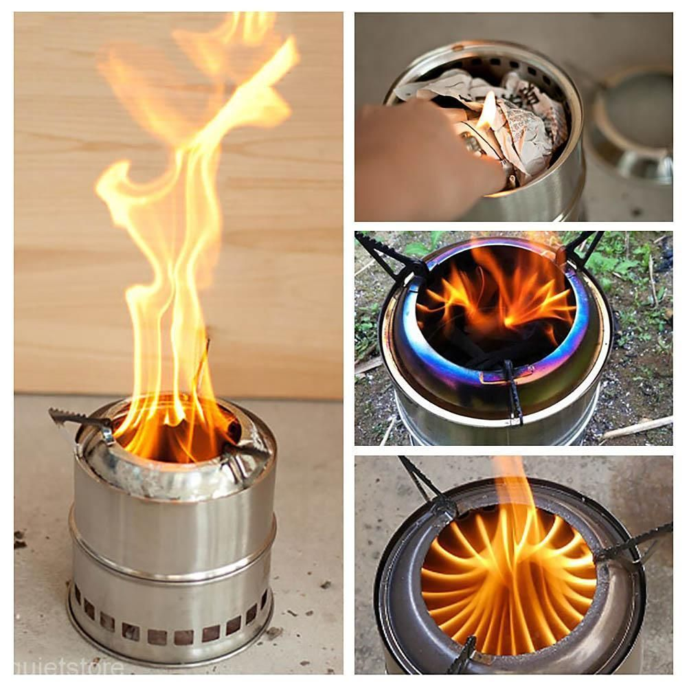 Holz-Vergaser Ofen Kocher Camping Outdoor Survival Notkocher Wood Gas Stove W