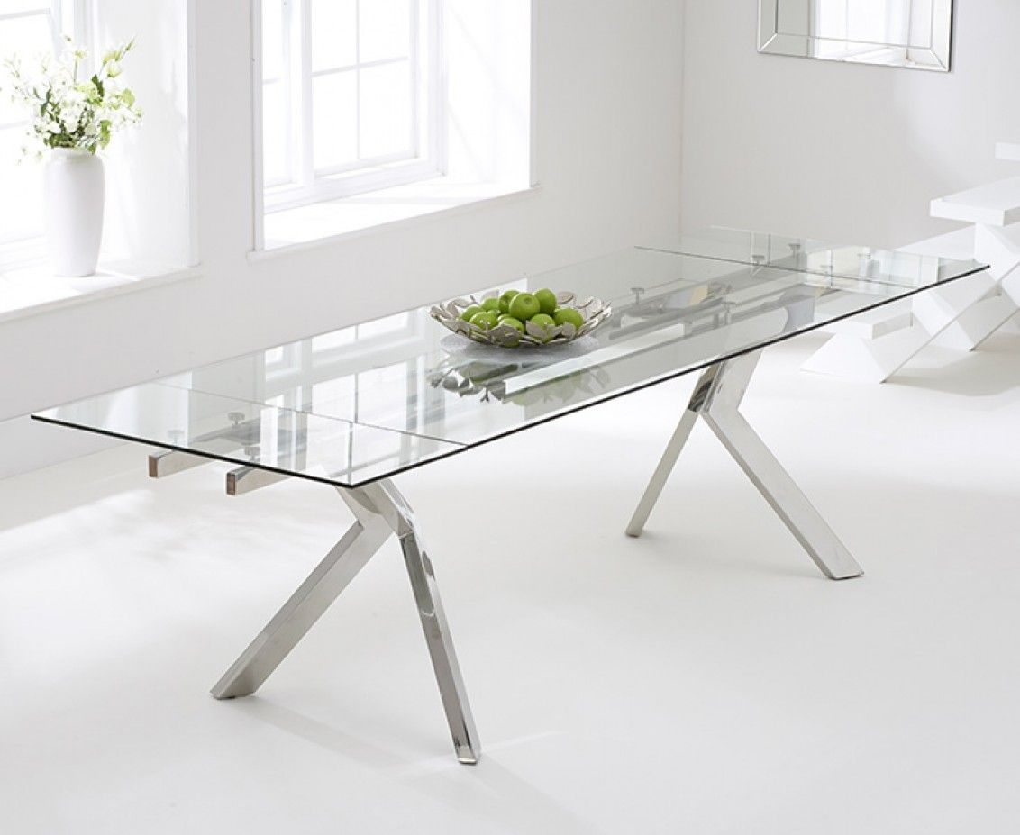 Puccini Cm Extending Glass Dining Table The Great Furniture - Glass dining table for 10