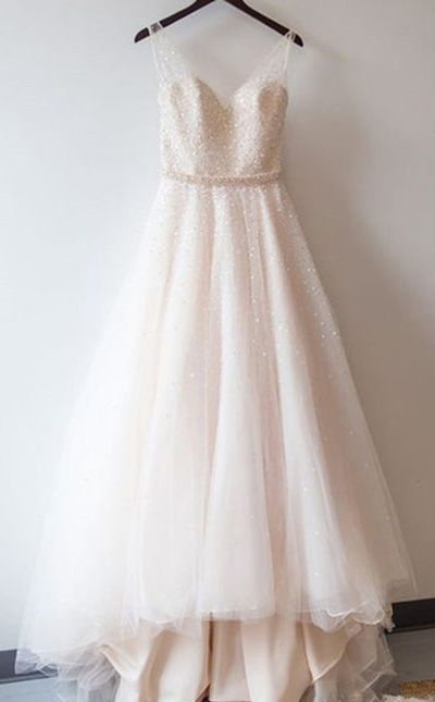 Blush Pink Prom Dresses,Ball Gown Lace Prom Gowns,Simple Prom Dress ...