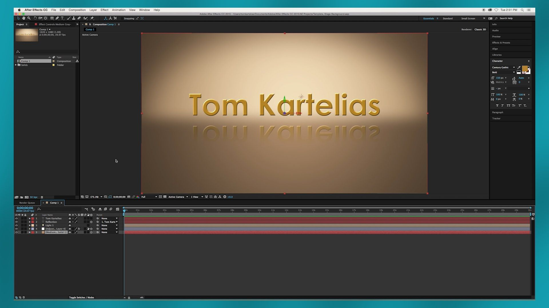 After Effects Tutorial Studio Background Text Reflection