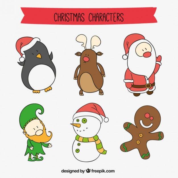 Christmas Cartoon Drawings.Christmas Cartoon Characters Free Vector Drawing