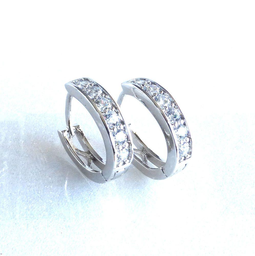 Huggie Hoop Earrings Simulated Diamond White Gold Plated