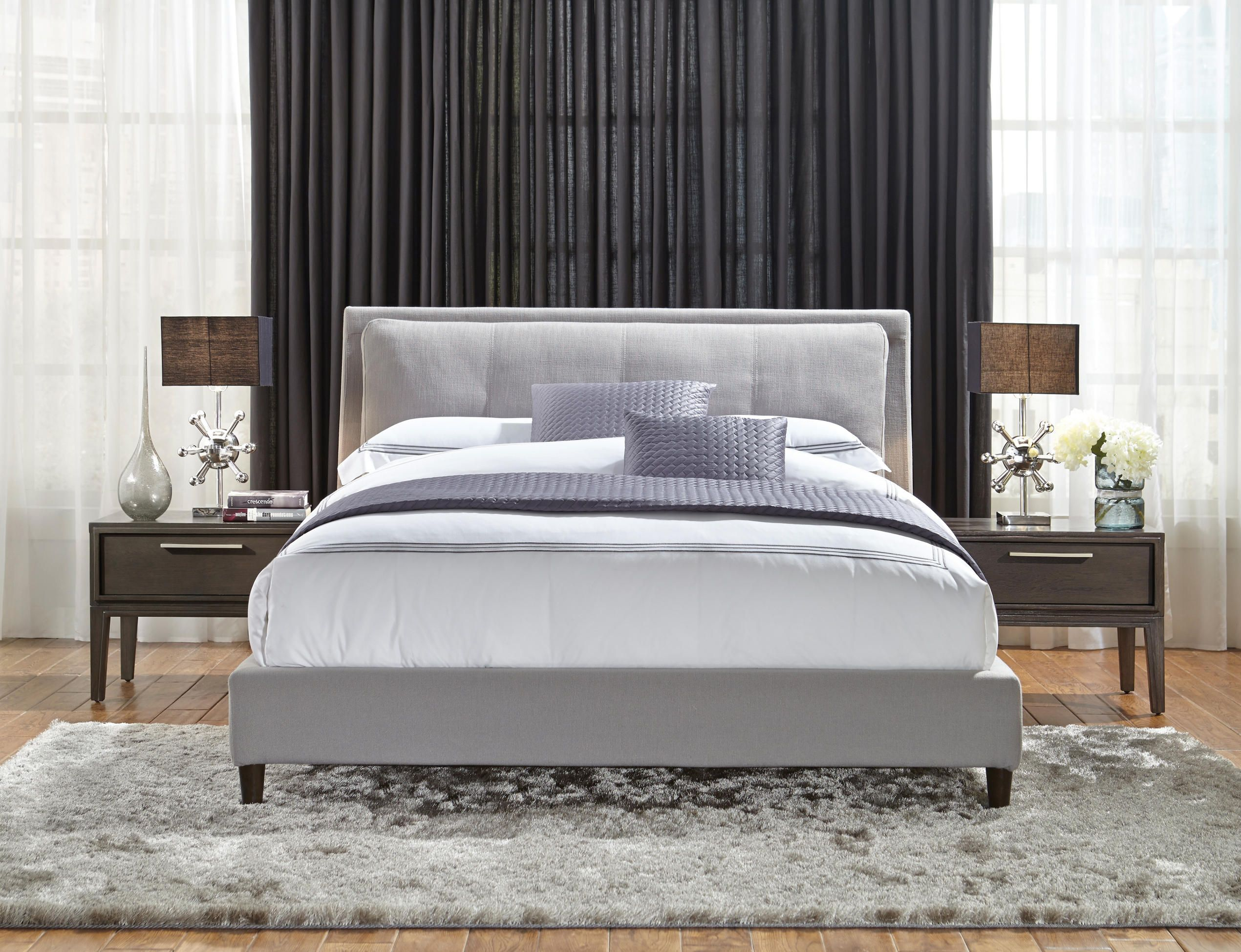 from the skyler collection. upholstered bed with pillow soft