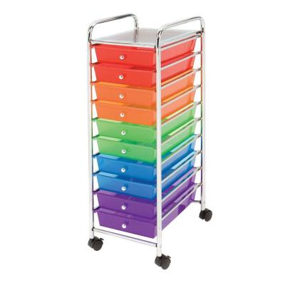 Seville Classics 10-Drawer Steel Organizer Cart in Multi Color-SHE16218B - The Home Depot