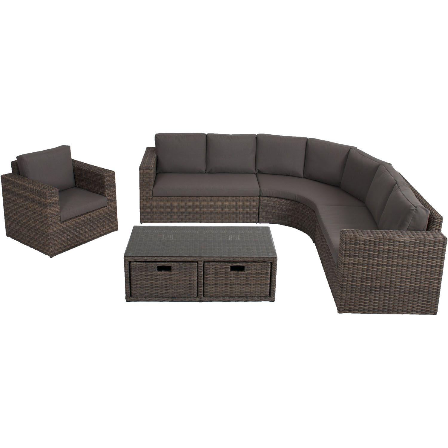 Curved corner couch sectional on the right track but wicker for
