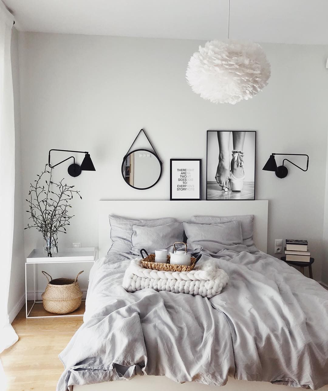 20 Bedroom Chandelier Designs Decorating Ideas: Fluffy Chandelier, White Feathers Chandelier, Grey Sheets