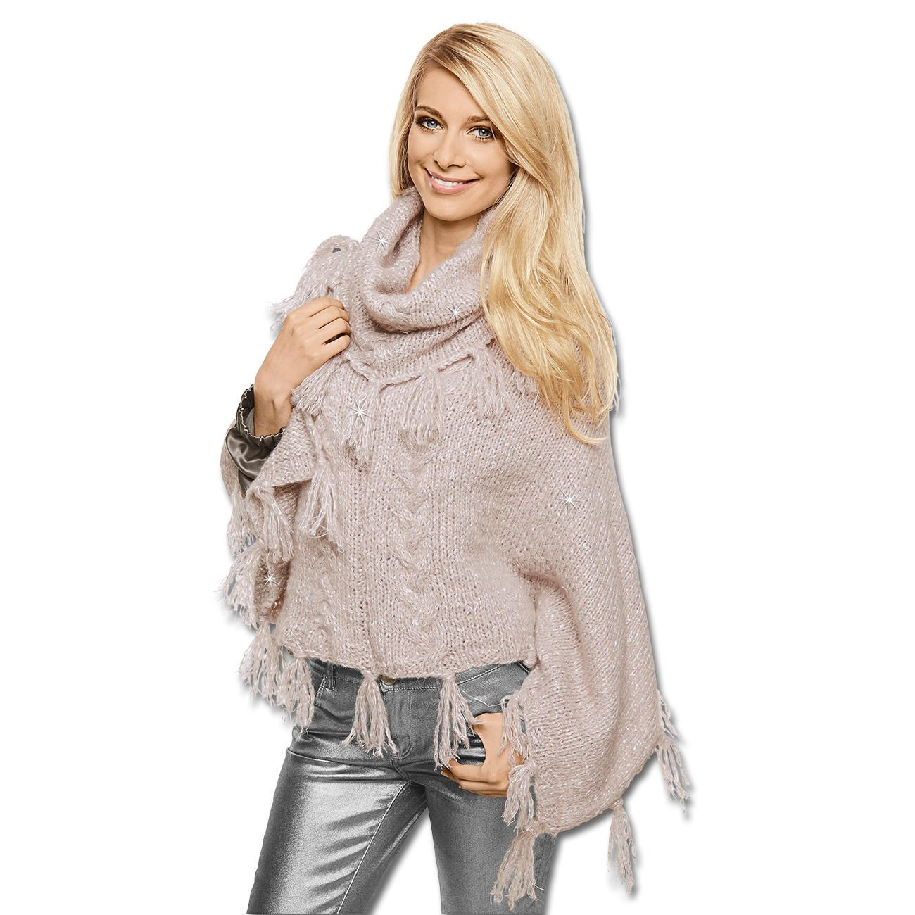 Modell 105 4 poncho aus prato von junghans wolle - Junghanns wolle ...