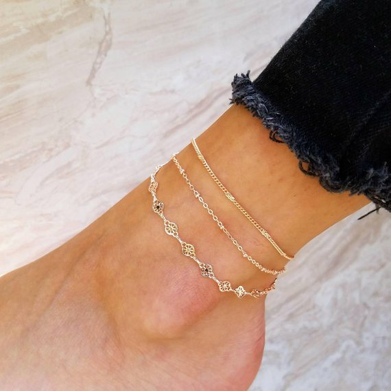 Boho Ankle Bracelet double Layer Anklet Adjustable Chain Foot Beach Jewelry Gold  Silver