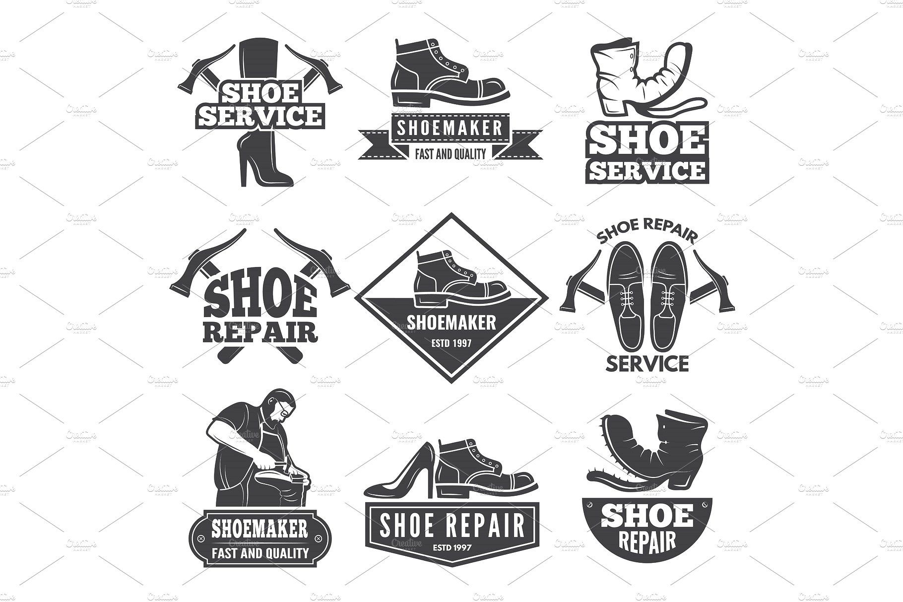 Vintage Monochrome Labels And Logos For Shoe Repair Workshop Shoe Repair Workshop Repair