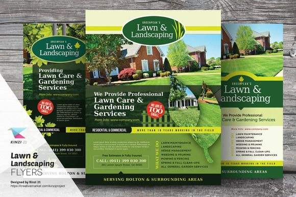 Lawn \ Landscaping Flyer Templates by kinzi21 on Creative Market - landscaping resume