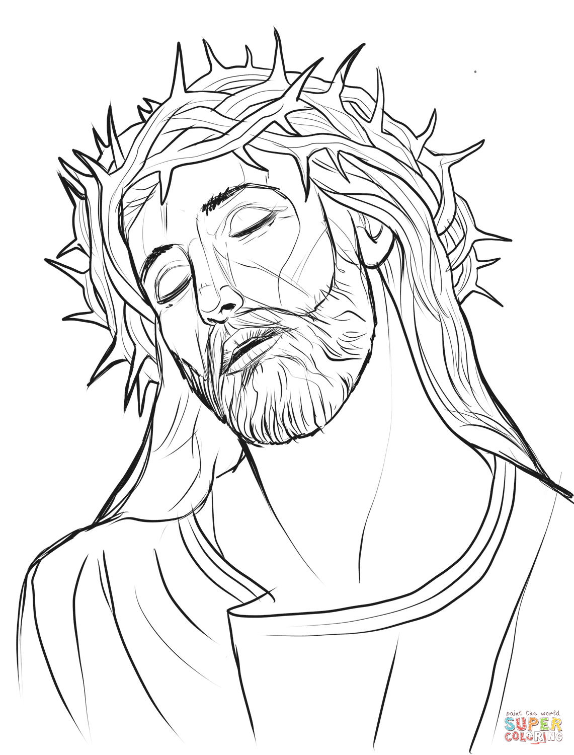 Christ with a crown of thorns super coloring