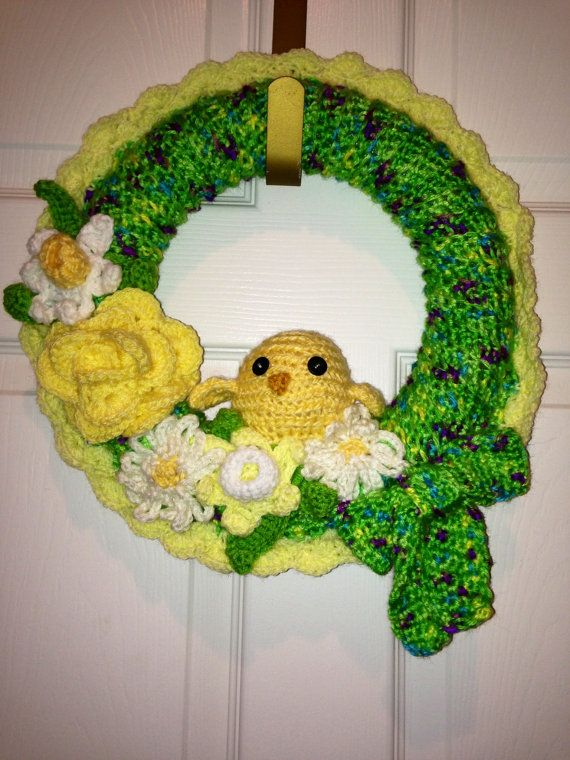 Crocheted Spring Wreath with chick or bunny  by KeepinItKozy