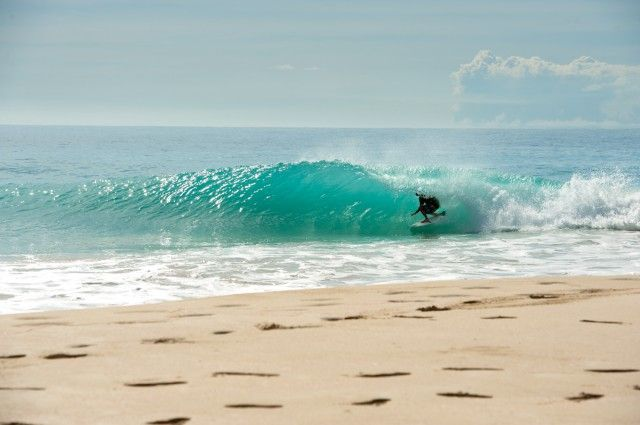When all else fails, it might be time to jump ship. Ben Bourgeois, escaping an East Coast lull in the Caribbean. Photo: Burkard