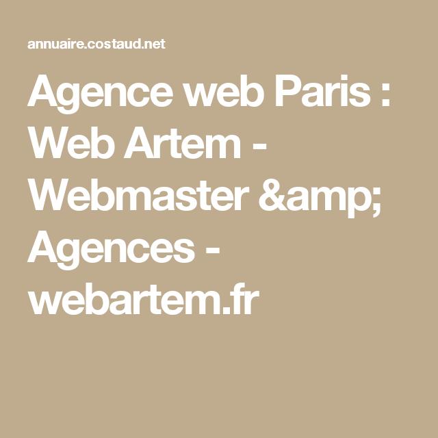 Agence web Paris : Web Artem - Webmaster & Agences - webartem.fr