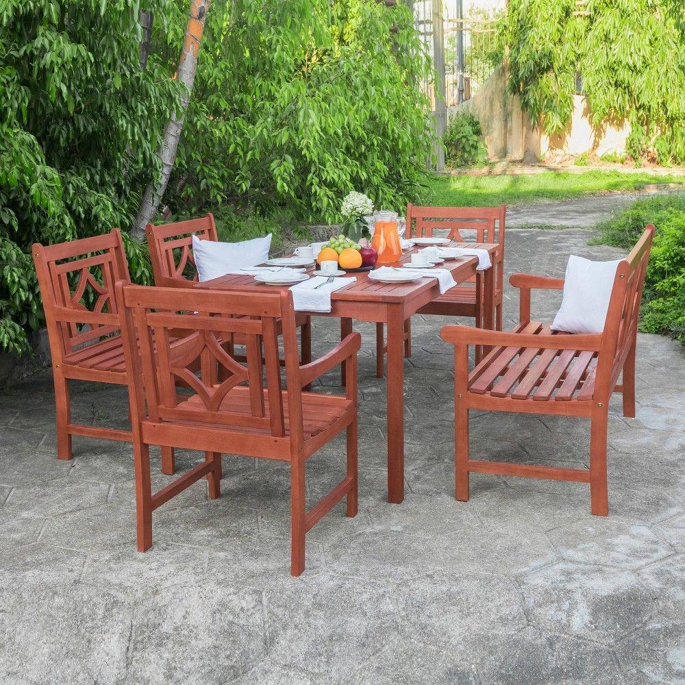 Vifah Patio Furniture.Malibu 6pc Rectangle Wood Outdoor Patio Dining Set Tan Vifah In