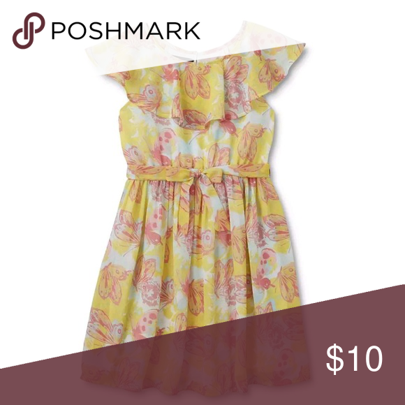 74c0f5810d98 Girls Yellow Butterfly Holiday Editions Size 14-16 This girls' flutter  sleeve dress from