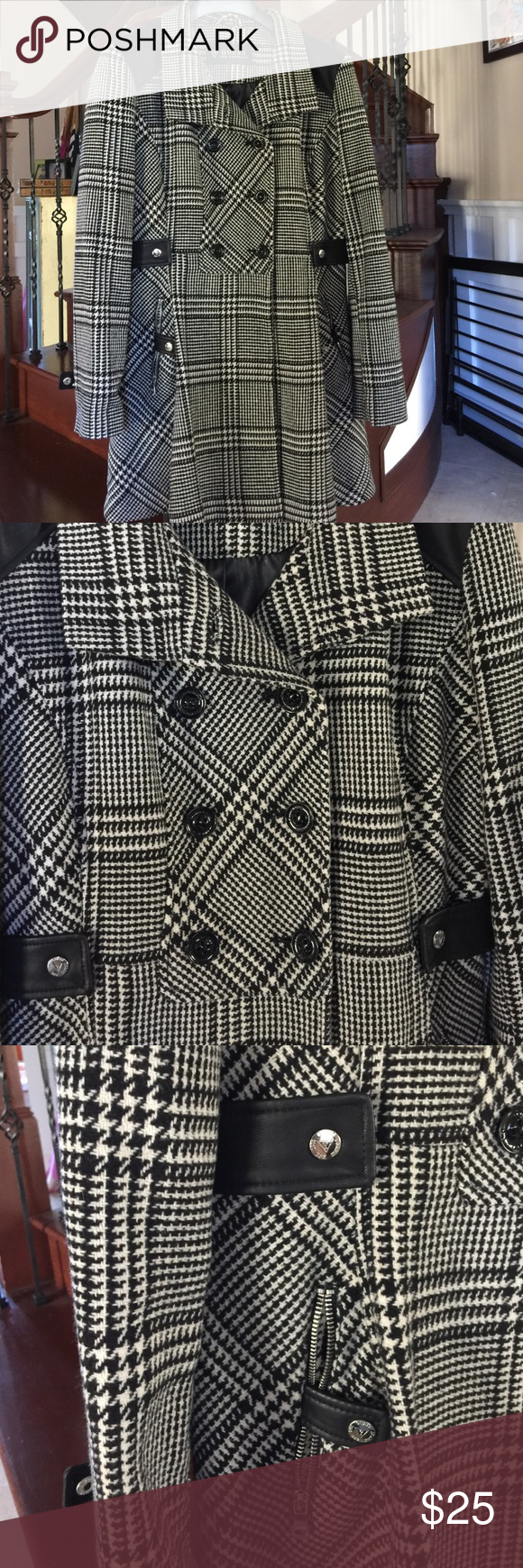 Guess peacoat Plaid black and white faux leather trimmed peacoat by Guess.  Zippered pockets and zipper along wrists silver buttons and zippers.  Polyester lined interior.  Wool and polyester blend exterior.  Flares out at hips Guess Jackets & Coats Pea Coats