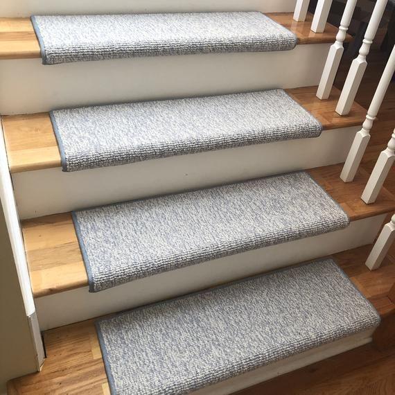 Best Seaside Blue 100 Wool True Bullnose™ Padded Carpet Stair 400 x 300