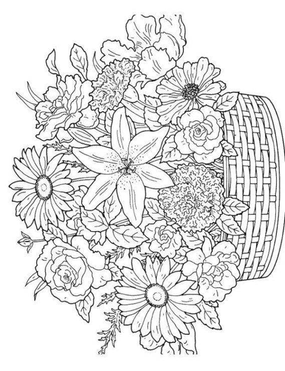 Kolorowanka Z Kwiatami Kwiaty Detailed Coloring Pages Printable Flower Coloring Pages Flower Coloring Pages