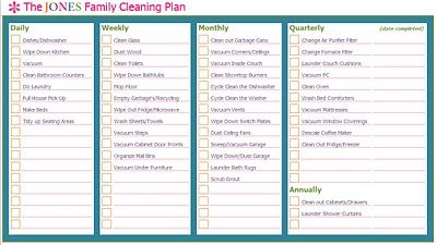 family cleaning schedule