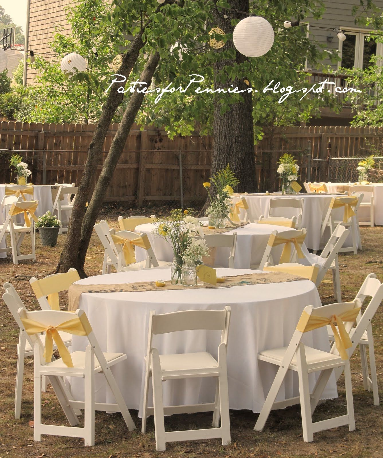 Garden Wedding Tips For A Beautiful Wedding: Backyard Wedding Reception By PartiesforPennies.com