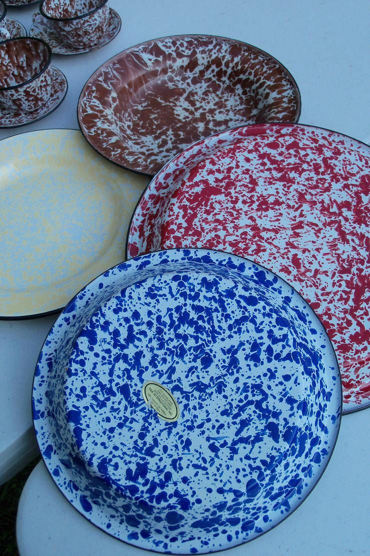 Enamel Ware Set Speckled Blue Pie Plate Red Serving Dish Yellow Camp Bowl Etsy
