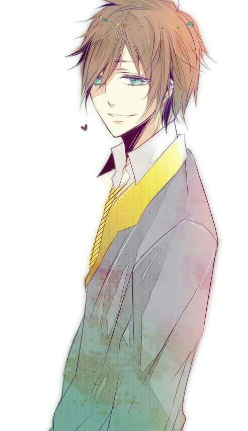 Anime cute boy with brown hair and blue eyes. Kawaii ... Anime Boy With Brown Hair And Brown Eyes
