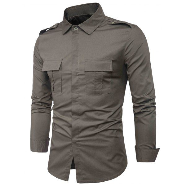 Men Casual Tops Embroidery Military Pure Color Pocket Short Sleeve T-Shirt
