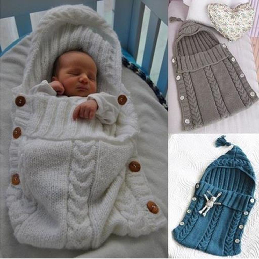 Autumn Winter Newborn Infant Baby Swaddle Wrap Handmade Knitted