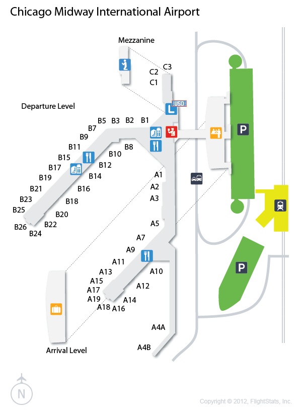Midway Airport Arrivals Map MDW) Chicago Midway International Airport Terminal Map | airports