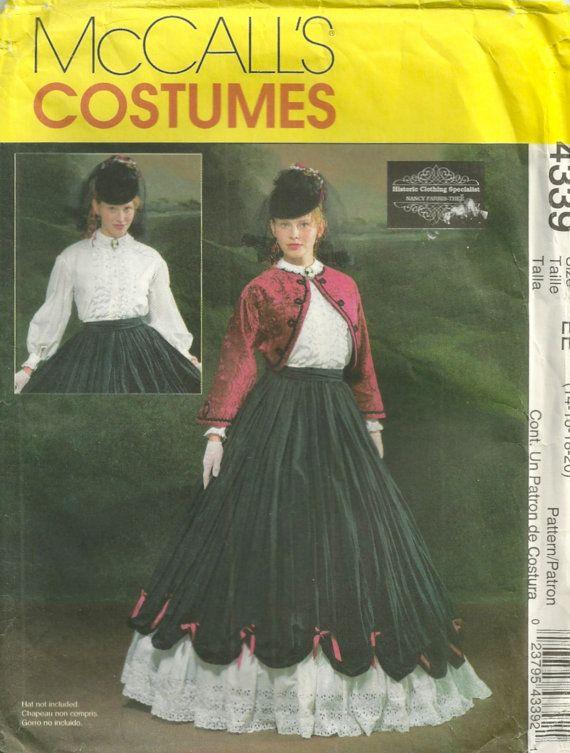 McCalls 4339 Misses Civil War COSTUME PATTERN Skirt Blouse Jacket ...
