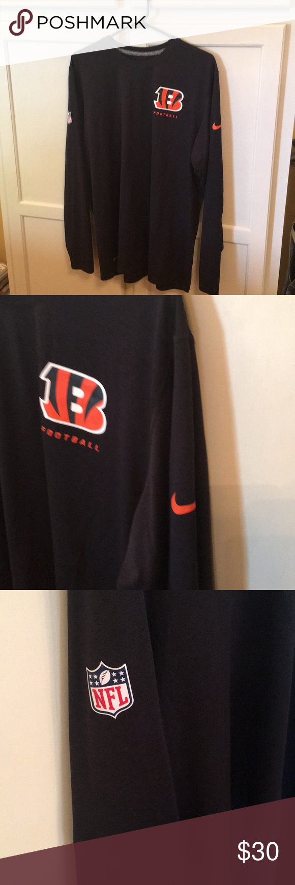 cfc925a3 Nike Bengals NFL Dri Fit Top Size Large | Simple shirts, Nike logo ...