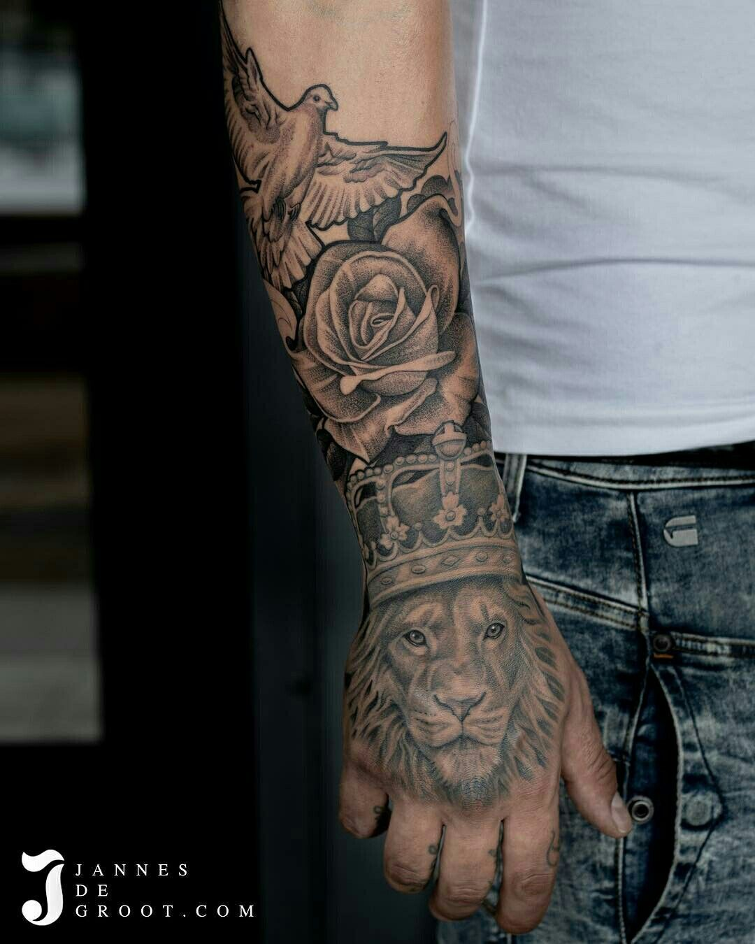 Pin By Seth Dominguez On Tattoos Sleeve Tattoos Lion Hand Tattoo Hand Tattoos For Guys