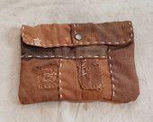 Antique japanese sakabukuro sashiko stitched boro clutch bag purse