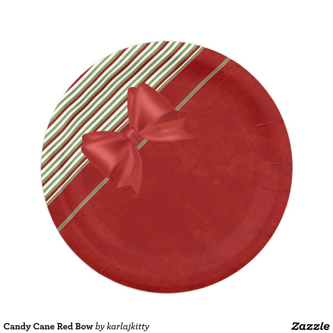 sc 1 st  Pinterest & Candy Cane Red Bow Paper Plate