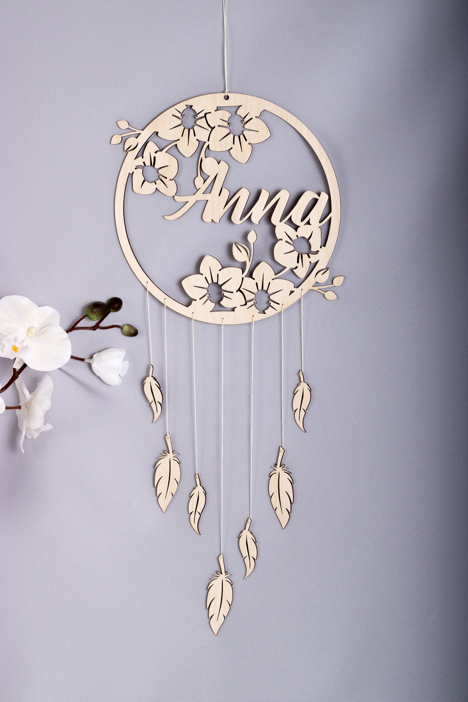 Orchids Personalised Wooden Dream Catcher Wall Hanging Wall Etsy Wooden Dream Catcher Laser Engraved Ideas Graduation Center Pieces