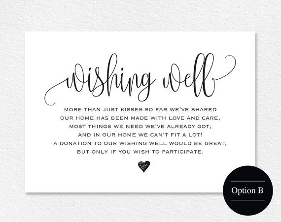 Wedding Invitation Cash Gift Wording: Wishing Well Card, Wedding Wishing Well, Wishing Well