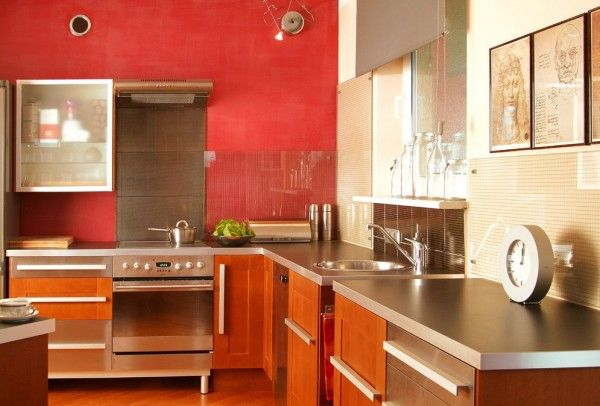 Cocina roja la magia del color pinterest cocinas for Pintura a color cocina abierta